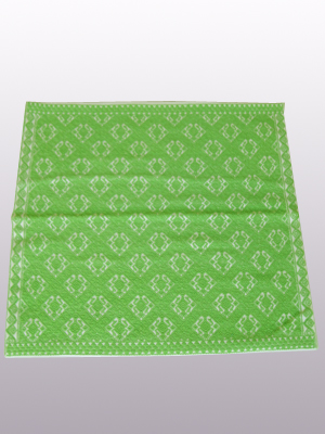 New Items / Handwoven pillow cover - Toads in Parrot Green / This beautiful pillow cover features the Toads Design from the ceremonial huipil of the Maya city of Yaxchilan. The Mayan consider toads to be musical creatures, with their singing they bring rain to the world. The toad sings at the mouth of the Earthlord's mountain cave. It was hand woven using a backstrap loom, a system created during the Classic Maya period.