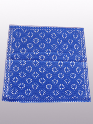 New Items / Handwoven pillow cover - Toads in Royal Blue / This beautiful pillow cover features the Toads Design from the ceremonial huipil of the Maya city of Yaxchilan. The Mayan consider toads to be musical creatures, with their singing they bring rain to the world. The toad sings at the mouth of the Earthlord's mountain cave. It was hand woven using a backstrap loom, a system created during the Classic Maya period.