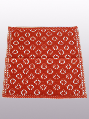 HANDBAGS / Handwoven pillow cover - Toads in Terra Cotta Red