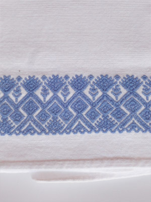New Items / Light Blue handwoven hand towel / This hand towel features traditional mayan weaving designs. It was hand woven and brocaded with a backstrap loom by a weaver from the Chiapas Highlands.