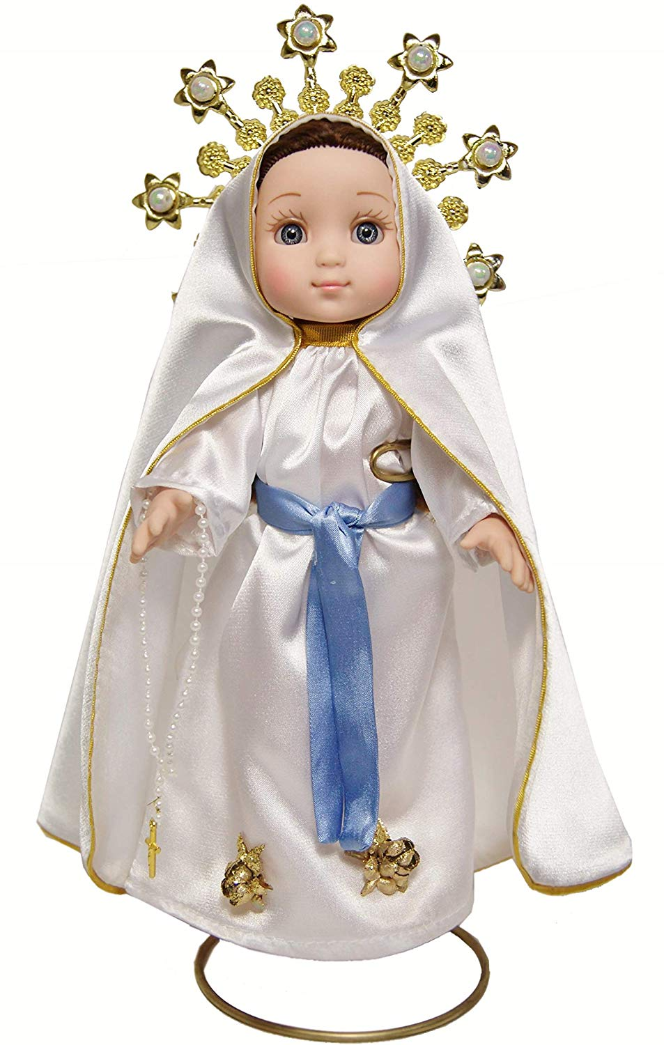 MARIA CONTIGO / Our Lady of Lourdes 10'' Doll with Rosary / Virgin Mary Mexican Doll, by Maria Contigo Ostler Collection