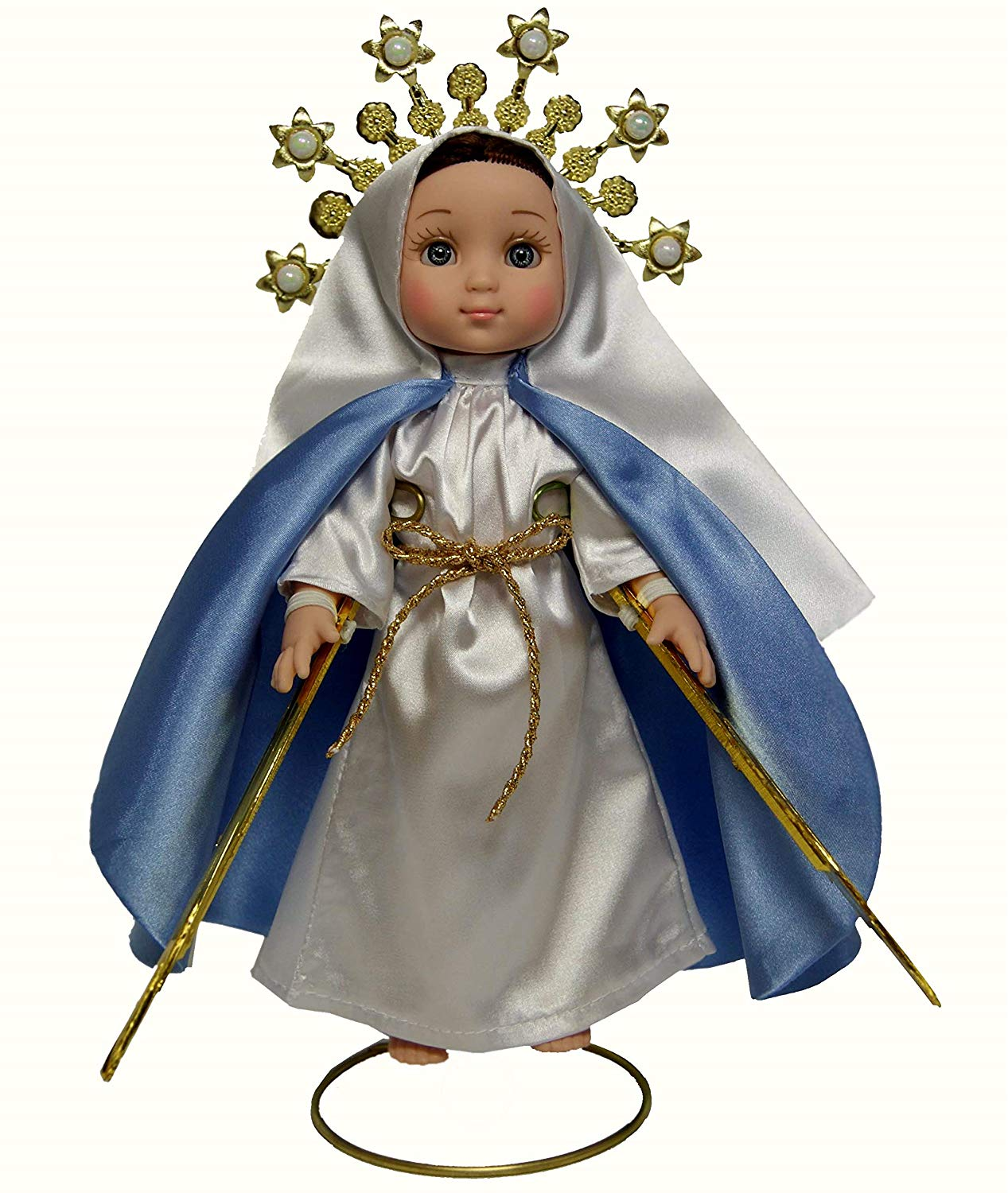 MARIA CONTIGO / Our Lady of The Miraculous Medal 1'' Doll with Rosary / Virgin Mary Mexican Doll, by Maria Contigo Ostler Collection