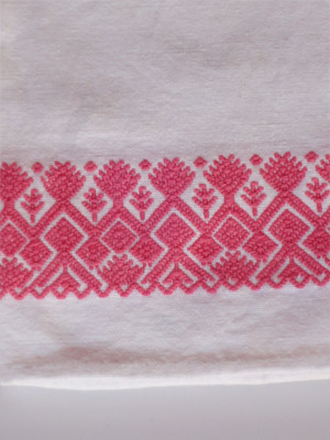 New Items / Pink handwoven hand towel / This hand towel features traditional mayan weaving designs. It was hand woven and brocaded with a backstrap loom by a weaver from the Chiapas Highlands.