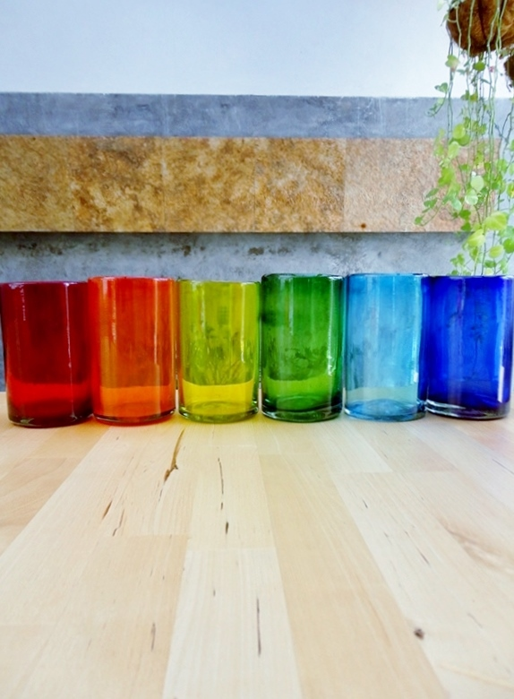 New Items / Rainbow Colored drinking glasses (set of 6) / These handcrafted glasses deliver a classic touch to your favorite drink.