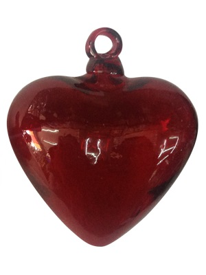 New Items / Red Blown Glass Hanging Hearts Jumbo size (set of 3) / These beautiful hanging hearts will be a great gift for your loved one.