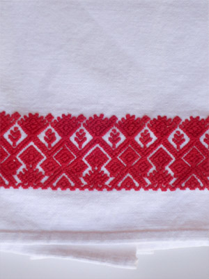 New Items / Red handwoven hand towel / This hand towel features traditional mayan weaving designs. It was hand woven and brocaded with a backstrap loom by a weaver from the Chiapas Highlands.