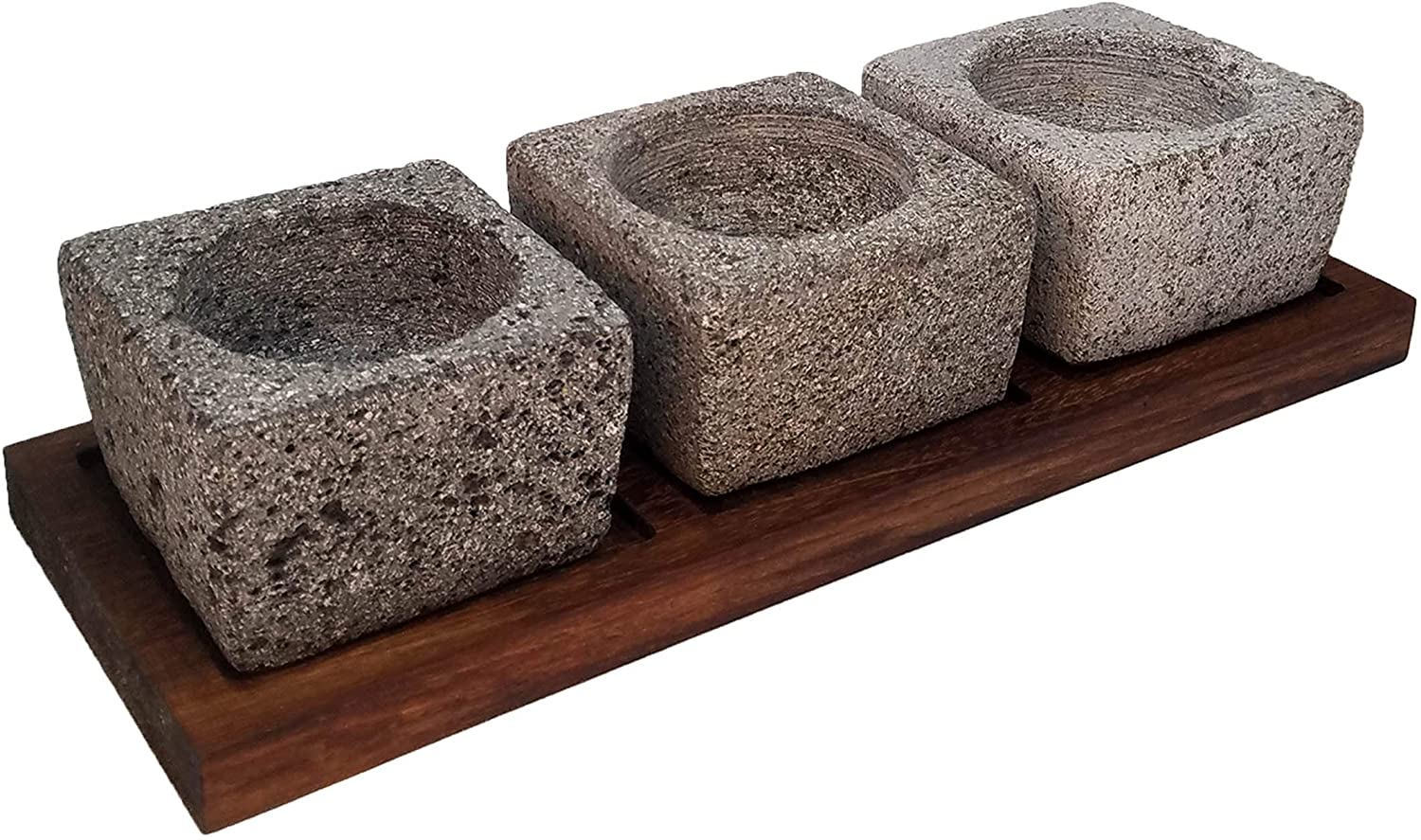 VOLCANIC ROCK PRODUCTS / Set-of-3-Small-4''-Mortars-with-Parota-Wood-Serving-Board / Surprise your guests with this handcrafted set of 3 small mortars with included wood board.