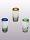 'Blue and Green and Amber Rim' Tequila shot glasses (set of 6)