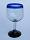 'Cobalt Blue Rim' balloon wine glasses (set of 6)