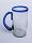 'Cobalt Blue Rim' large beer mugs (set of 6)