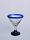 'Cobalt Blue Rim' small martini glasses (set of 6)