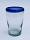 'Cobalt Blue Rim' tapered beer glasses (set of 6)