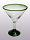 'Emerald Green Rim' martini glasses (set of 6)