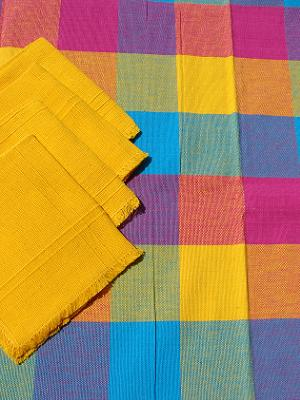 MEXICAN TEXTILES / Cotton Tablecloth with napkins Plaid Blue Red Yellow 47'' Square (4 people) / The beautiful color combinations of this hand woven cotton tablecloth will give the perfect touch to your table setting.