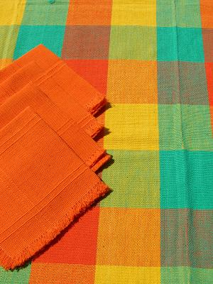 New Items / Cotton Tablecloth with napkins Plaid Yellow Green Orange 47'' Square (4 people) / The beautiful color combinations of this hand woven cotton tablecloth will give the perfect touch to your table setting.